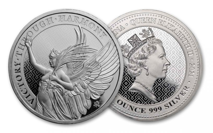 2021 Saint Helena £1 1-oz Silver Queen's Virtues: Victory BU