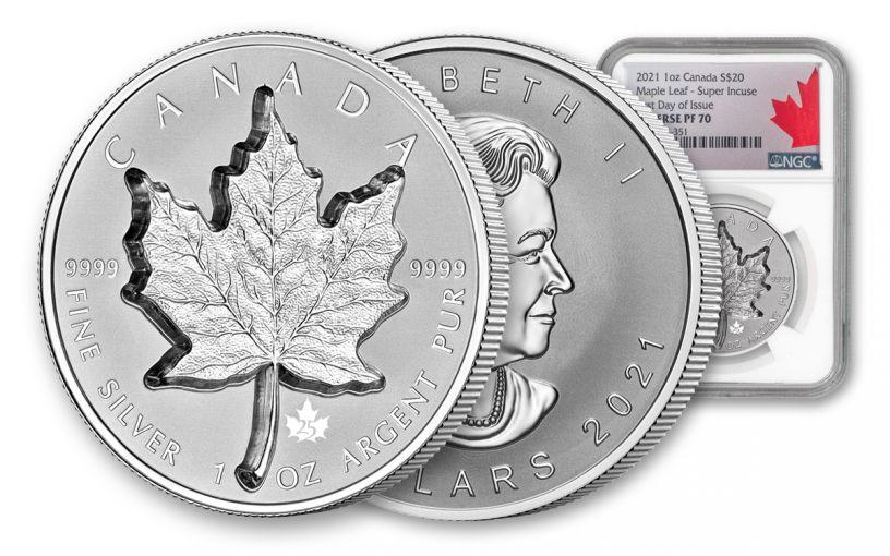 Canada 2021 Super Incuse Reverse Proof 1 oz Silver Maple $20 Coin NGC PF70 FDI Exclusive Silver Incuse Maple Label