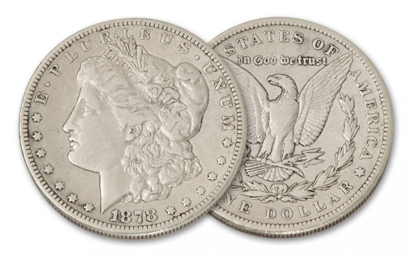 1878-P Morgan Silver Dollar 7-Tail Feathers F–VF