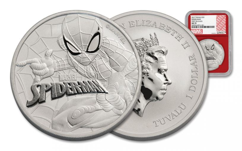 2017 Tuvalu 1 Dollar 1-oz Silver Spiderman NGC MS70 First Release