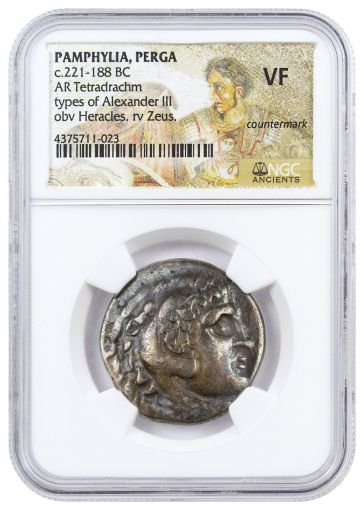 3rd-1st Centuries BC Greek Empire Alexander the Great Silver Tetradrachm Posthumous Countermark NGC VF