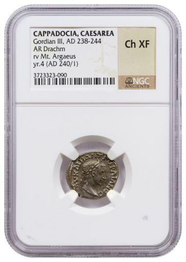 AD 240/1 Cappadocia Silver Drachm of Gordian III NGC Ch XF