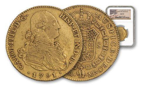 1772-1820 Spain Gold 4 Escudos AU