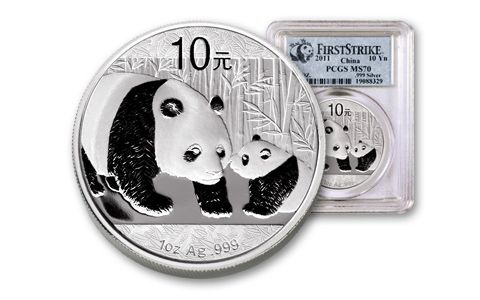 2011 China 1-oz Silver Panda PCGS MS70 First Strike