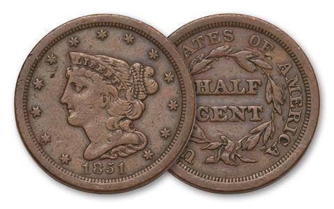 1840-1857 Half Cent Braided Hair VF