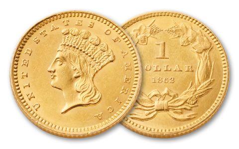 1856 1889 1 Dollar Gold Indian Type Iii