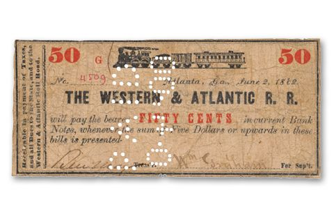1862 Western & Atlantic Railroad 50 Cent Currency Note
