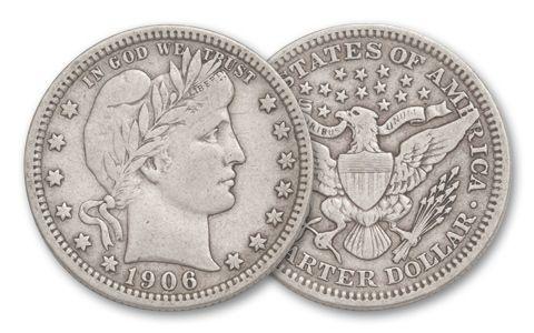 1892-1916 25 Cent Barber VF