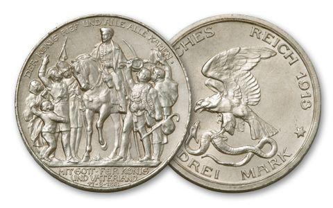 1913 Prussia 3 Mark Silver Leipzig Fine