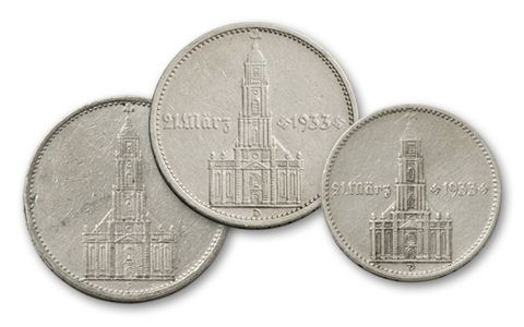 1934-1935 Germany 2 and 5  Reichsmark Potsdam Church