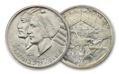 1935-P Arkansas Centennial US Commemorative Silver Half-Dollar BU