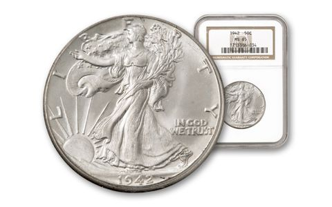 1942-P 50 Cent Walking Liberty NGC MS65