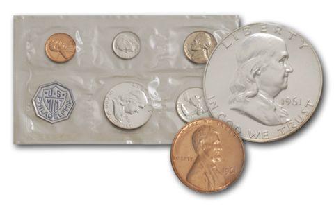 "Complete and original 1961 Official U.S Mint Set 10 coins Both /""P/"" /& /""D/"""