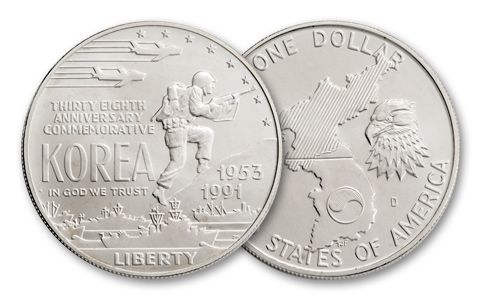 1991-D 1 Dollar Korean War Memorial Silver BU