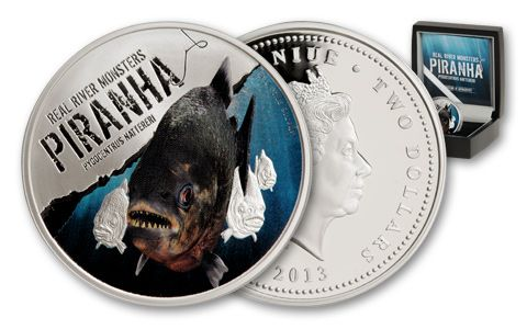 2013 Niue 1-oz Silver River Monsters - Piranha Proof