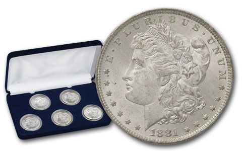 1881-1885-O Morgan Silver Dollar BU 5pc Set