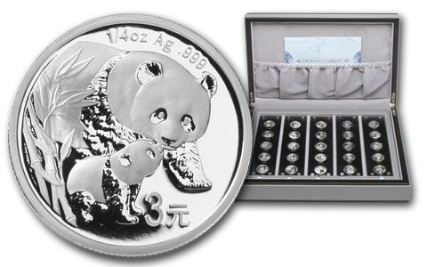 2007 China 25th Anniversary Silver Panda Proof Set