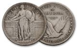 1917-P 25 Cents Silver Standing Liberty VF