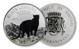 2013 Congo 1000 Francs CFA Silver Black Leopard Proof