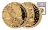 2019 Australia $100 1-oz Gold Wedge Tailed Eagle High Relief NGC PF70UC First Releases - Mercanti Signed Label
