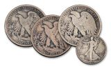 1917-PDS 50 Cents Silver Walking Liberty 3-Coin Set VG