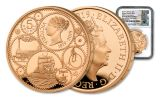 2019 Great Britain £5 Gold Queen Victoria 200th Anniversary NGC PF70UC One of First 100 Struck - Tower Bridge Label