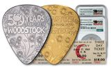 2019 Cook Islands Gold & Silver Woodstock Guitar Picks & Ticket 3-pc Set NGC PF70/MS70/PMG PL70