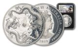 2019 Australia $2 2-oz Silver Double Dragon High Relief Proof NGC PF70UC First Day of Issue - Black Core, Opera House Label