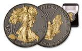 2020 $1 1-oz Silver American Eagle BU w/Black Ruthenium & 24 Karat Gold