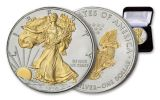 2020 $1 1-oz Silver American Eagle BU w/24 Karat Gold Gilded Liberty & Eagle