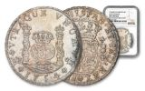 1754 Mexico Silver Pillar 8 Reales NGC Uncirculated Details Excavation Recovery
