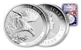 Australia 2020 $1 1-oz Silver Wedge Tailed Eagle NGC MS70 First Releases - Flag Core, Mercanti Signed Australia Flag Label