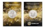 2020 $1 1-oz American Silver Eagle BU Congratulations Card