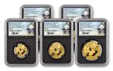 2020 China Gold Panda 5-Coin Prestige Set NGC MS70 First Day of Issue w/Black Core & Signed Labels