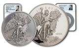 2020 1-oz Palladium & 5-oz Silver Saint-Gaudens Winged Liberty Ultra High Relief Proof Medal 2-pc Set NGC PF70UC First Day of Issue w/Mercanti Signature