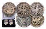 1892–1916 Barber Silver Quarter 4-pc Mint Mark Set