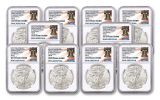 2020(P) $1 1-oz Silver Eagle Struck At Philadelphia Emergency Production 10-Pack NGC MS69 Early Releases w/Liberty Bell Label