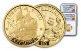 2020 Great Britain/U.S. 1/4-oz Gold Mayflower 400th Anniversary 2-pc Set NGC PF70UC First Releases w/Costello Signature