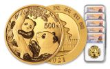 2021 China Gold Panda 5-Coin Prestige Set NGC MS70 First Releases Struck at Shenyang Mint w/Signed Labels