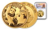 2021 China 30-gm Gold Panda NGC MS70 First Day of Issue Struck at Shenyang Mint w/Signed Label