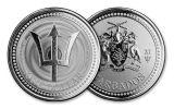 2021 Barbados $1 1-oz Silver Trident Coin Gem BU
