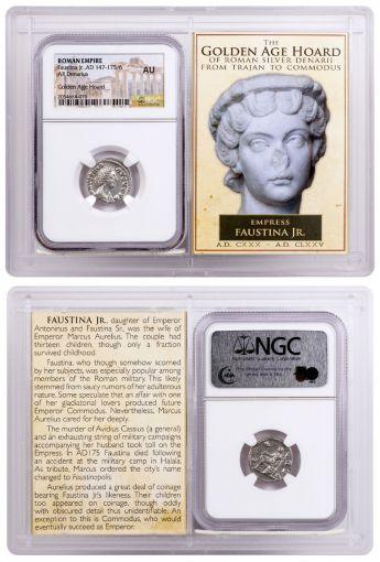 320794 – AD 147-175/6 Roman Denarius of Faustina Jr. Golden Age Hoard NGC AU