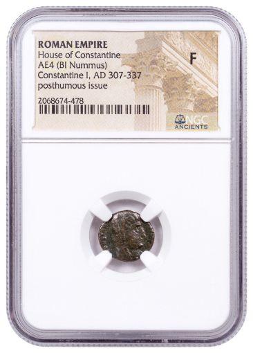 AD 337-340 Ancient Roman Bronze Nummus of Constantine The Great Manus Dei NGC F