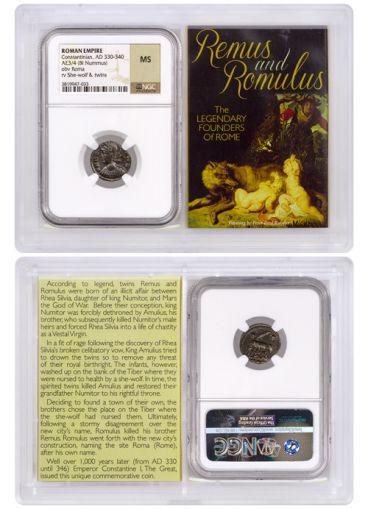 AD 330-340 Roman Billon Nummus of Constantine I – Remus and Romulus NGC Mint State
