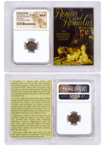 AD 330-340 Roman Billon Nummus of Constantine I – Remus and Romulus NGC Mint State Star