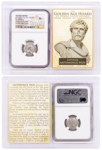 AD 138–161 Roman Silver Denarius of Antoninus Pius Golden Age Hoard NGC XF