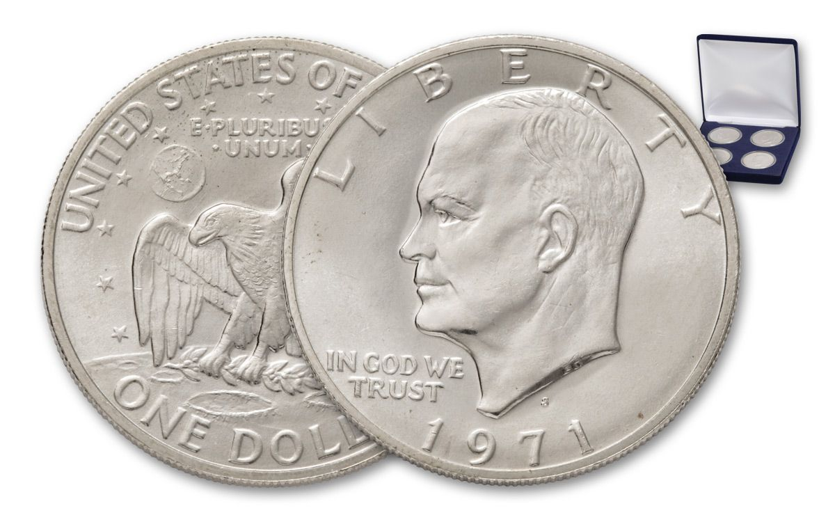 1971 1972 1973 1974 Eisenhower Dollar Silver Uncirculated 4pc Set