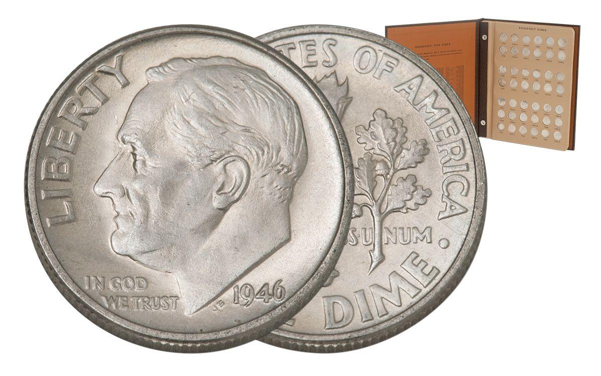 Roosevelt complete silver dime set 1946-1964 silver dimes in set 48
