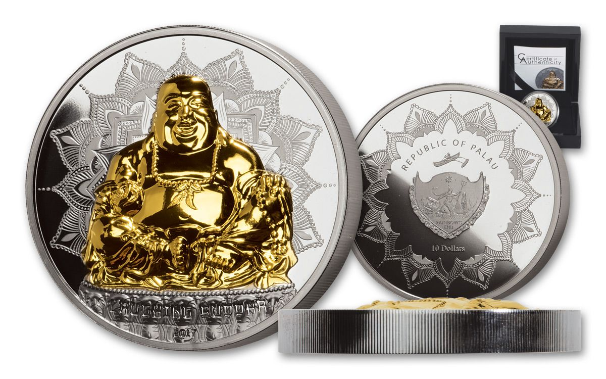 Only 888 Minted 2017 Palau Good Luck Laughing Buddha 2 oz Silver Coin