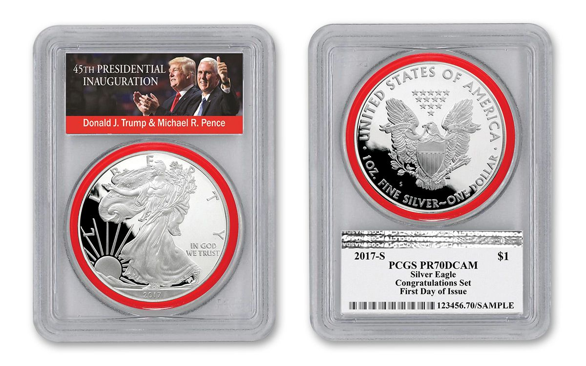 Donald Trump 2017 W 1oz Silver Eagle Proof PCGS PR70 DCAM First Day Issue